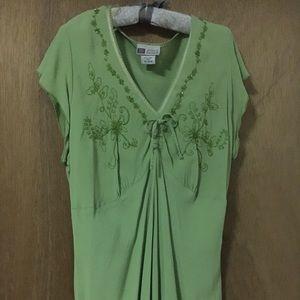 Faded Glory light green beaded top. Size XL